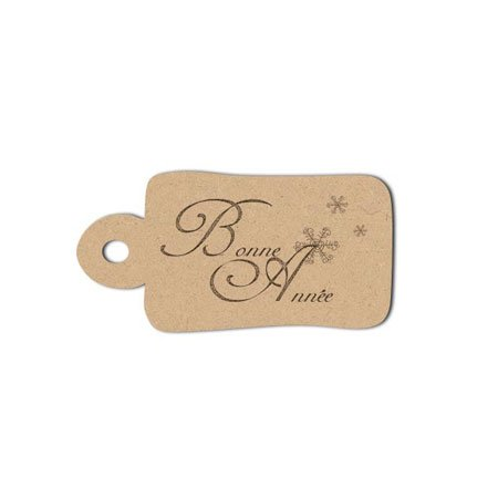 Sujet en bois médium - Etiquettes Bonne Année - 4,5 x 2,2 cm