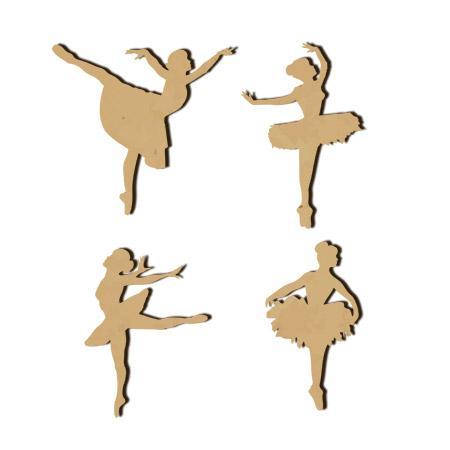 4 danseuses en bois - 4,5 x 2,5 cm