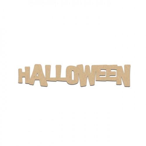 Mot Halloween en bois médium - 7 x 1,5 cm