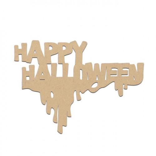 Mot Happy Halloween en bois médium - 8 x 6 cm