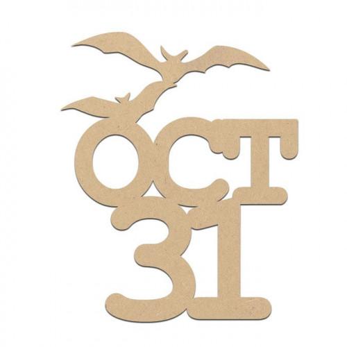 Mot 31 Oct en bois médium - 6 x 4 cm