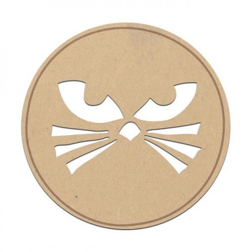 Cachet chat en bois médium - 3,5 cm