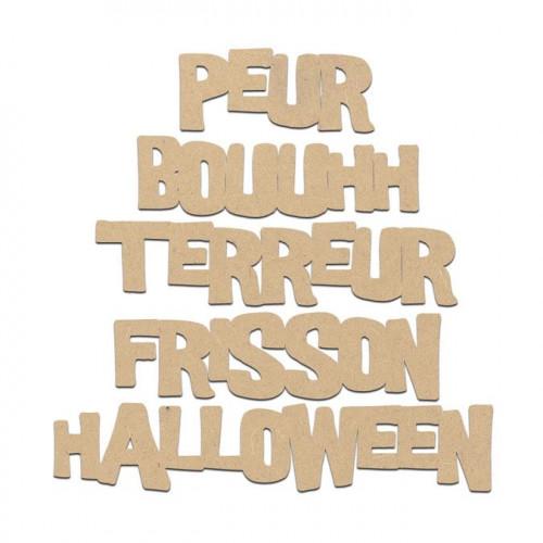 Lot de 5 mots Halloween en bois médium - 1,5 cm