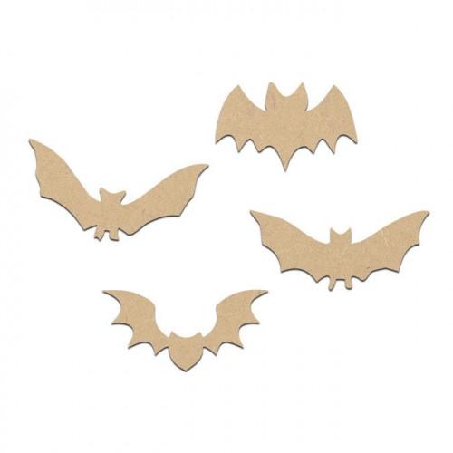 Lot de 4 chauve-souris en bois médium - 2 cm