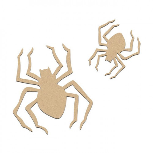 Lot de 2 araignées en bois médium - Grande : 4 x 4,5 cm