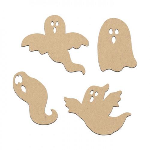 Lot de 4 fantômes en bois médium - Grand : 5 x 4,5 cm