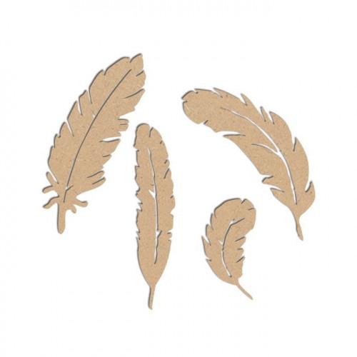 Lot de plumes en bois médium - H. grande plume : 8 cm