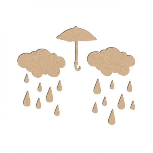 Lot pluie en bois médium - Parapluie : 4,2 x 4,6 cm