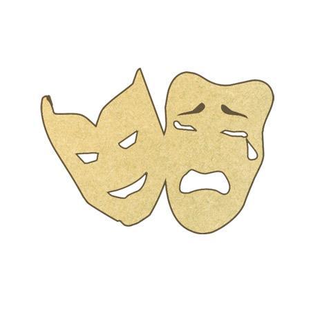 Sujet en bois médium - Masques de théâtre - 4,7 x 3,2 cm