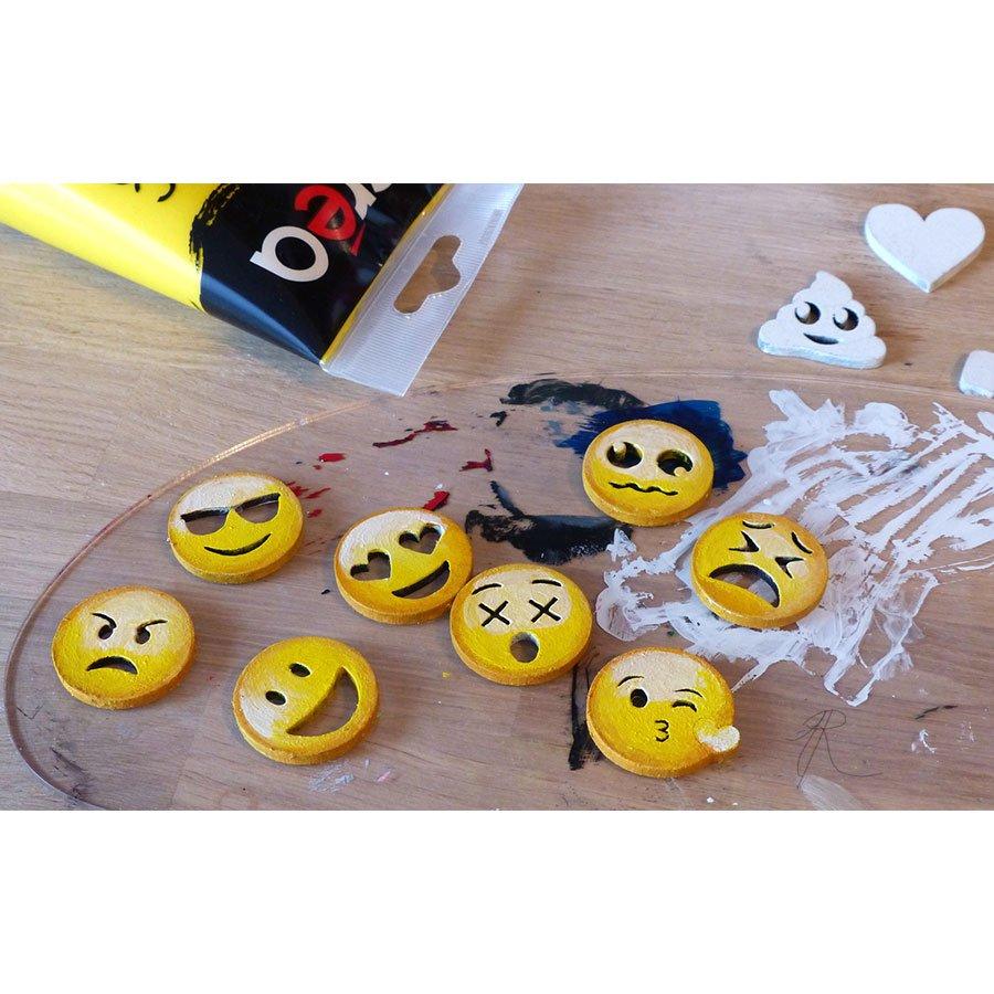 Emojis en bois médium - H. 3 cm - 12 pcs