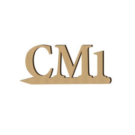 Mot en bois médium - CM1 - 4,7 x 2 cm