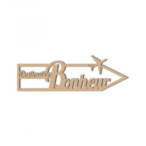 Mot en bois médium - Destination Bonheur - 11 x 3.5 cm