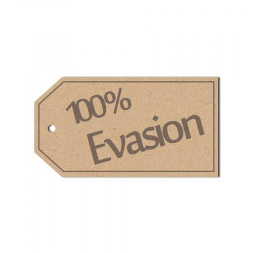 Sujet en bois médium - Etiquette 100% Evasion - 5 x 2.2 cm
