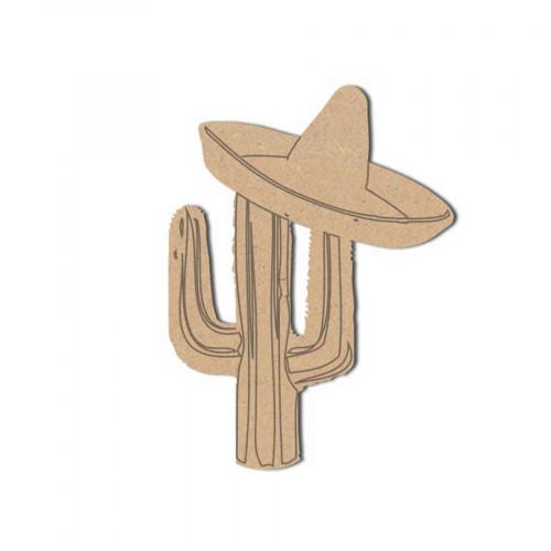 Sujet en bois médium - Cactus Mexicain - 8 x 6 cm