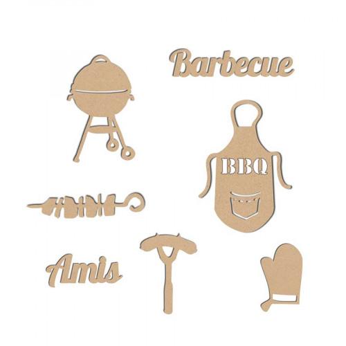 Décorations barbecue en bois x7 - 3.7 x 6 cm