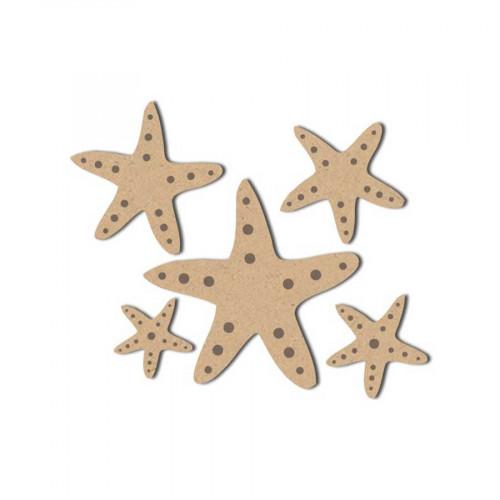 Etoiles de mer en bois x5 - 5 x 5 cm