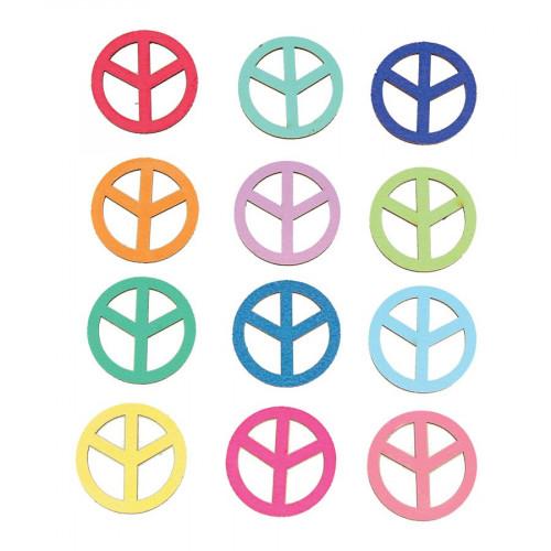 Flower Power - Stickers en bois - Peace & Love