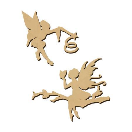Sujet en bois médium - Ass.de deux fées - Dimensions de la fée papillon 7,3 x 4,5 cm