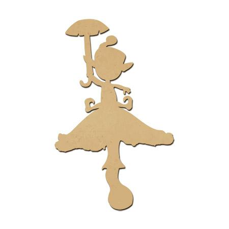 Sujet en bois médium - Lutin parapluie - 6 x 3,7 cm