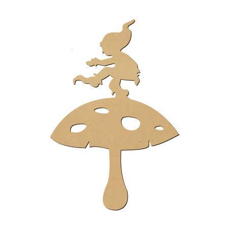 Sujet en bois médium - Lutin à cloche pied - 5,7 x 4 cm