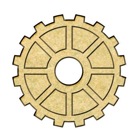 Sujet en bois médium - Engrenage gravé - 2,7 cm