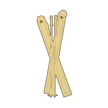 Sujet en bois médium - Skis alpins - 8,2 x 2,8 cm