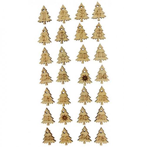 Stickers en bois - Sapins numérotés - 2,5 cm - 28 pcs