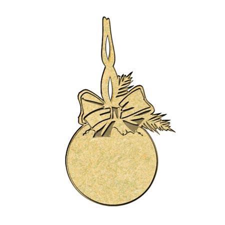 Sujet en bois médium - Boule houx - 6,9*3,9 cm