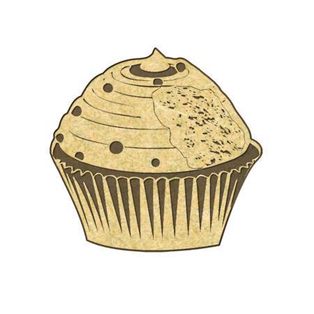 Sujet en bois médium - Petit cupcake croqué - 3,9*3,3 cm