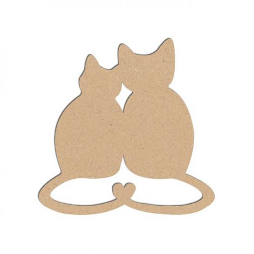 Sujet en bois médium - Chats amoureux - 4,7 x 4,6 cm