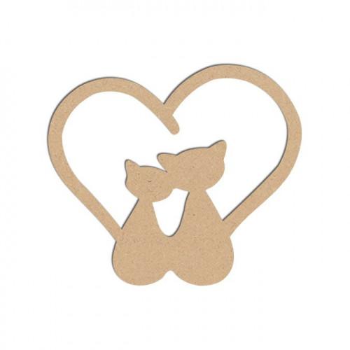 Sujet en bois médium - Chats cœurs - 6,3 x 5,5 cm