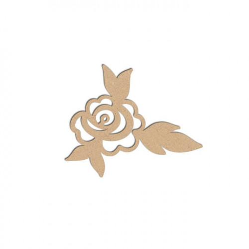 Sujet en bois médium - Rose - 4,5 x 4 cm