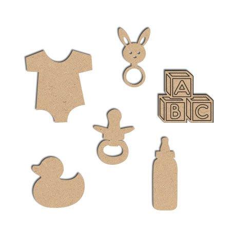 Décorations Bébé en bois x6 - 3,5 x 4 cm