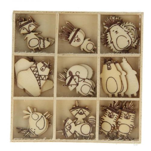 Totem - Embellissements en bois x 27 pcs