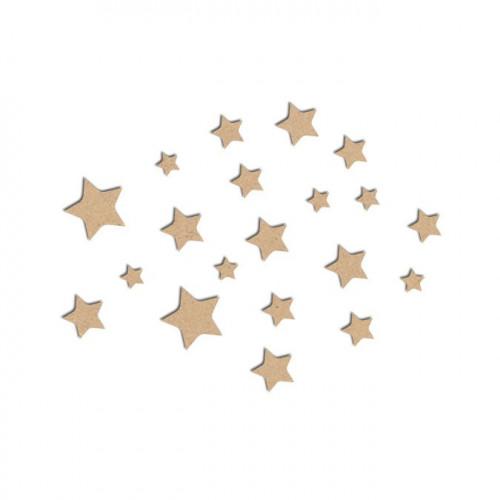 Lot de mini étoiles en bois médium - Grandes étoiles : 2 x 2 cm
