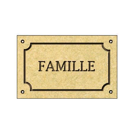 Sujet en bois médium - Plaque Famille - 4,8 x 3,4 cm