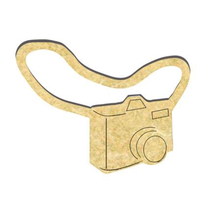 Appareil photo en bois avec sangle - 5 x 4 cm