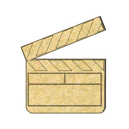 Sujet en bois médium - Clap gravé - 4,5 x 5 cm