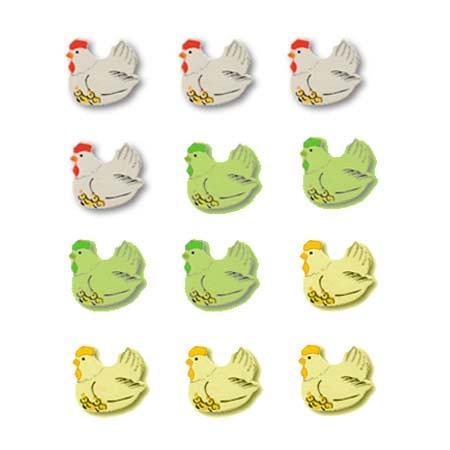 Sachet de 12 formes décoratives - Poules