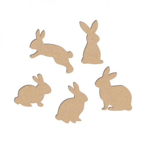Lot de 5 lapins en bois médium - Lapin saut : 5 x 3,8 cm