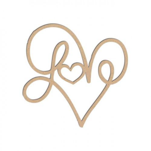 Mot en bois médium - Love - 5 x 5 cm