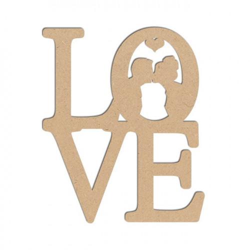 Mot en bois médium - Love couple - 5,5 x 4,5 cm