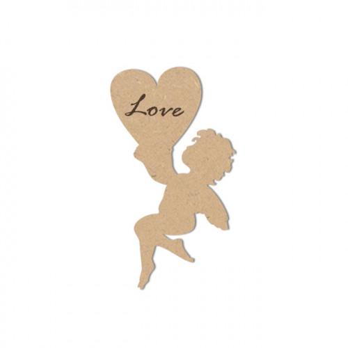 Ange en bois avec gravure Love - 5,5 x 4 cm