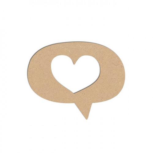 Sujet en bois médium - Bulle cœur - 4 x 3,2 cm