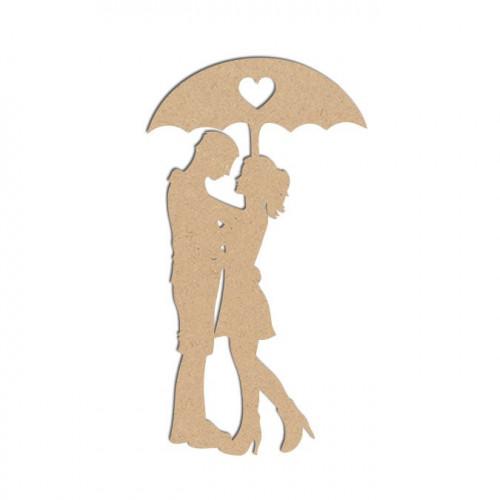 Sujet en bois médium - Couple parapluie - 9,5 x 5,2 cm