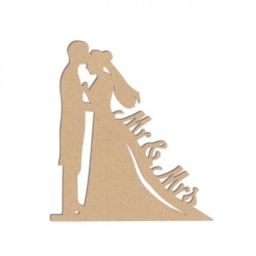 Sujet en bois médium - Couple de mariés - 10 x 9 cm