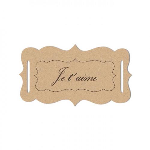 Sujet en bois médium - Etiquette je t'aime - 5,5 x 3,1 cm