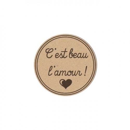 Sujet en bois médium - Cachet c'est beau l'amour - 3,5 x 3,5 cm