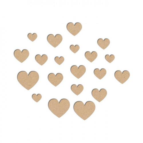 Assortiment de coeurs en bois - Grand : 1,7 x 1,5 cm ; Petit : 0,7 x 0,6 cm
