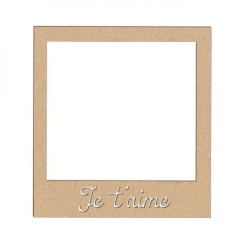 Support en bois médium - Polaroïd Je t'aime - 9 x 8,3 cm
